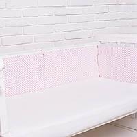 """Бортик  в кроватку для новорожденного """"Горошек розовый"""" Еlfdreams"""
