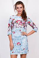 Нарядное летнее женское платье выше колен с рукавом принт Нежные цветы