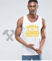 Мужская майка белая Adidas Originals Адидас (большой принт) (РЕПЛИКА)
