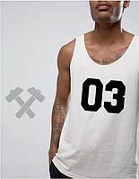 Майка хлопковая Adidas 03 Адидас белая (большой принт)