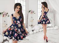 Женское летнее платье коттон с пышной юбкой в разных цветах