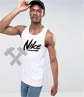 Мужская майка Nike Найк белая (большой принт) (РЕПЛИКА)