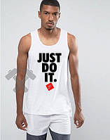 Модная майка для парня Nike Найк белая (большой принт) (РЕПЛИКА)