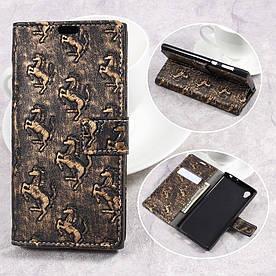 Чехол книжка для Sony Xperia L1 G3313 боковой с отсеком для визиток фактурный, Лошадка, коричневый
