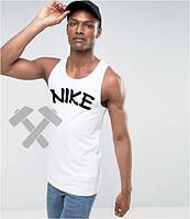 Майка для занятий спортом белая Найк  Nike (большой принт) (РЕПЛИКА)