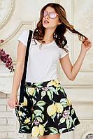Яркая летняя женская мини юбка с модным принтом лимоны на черном