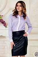 Женская офисная сиреневая рубашка с длинным рукавом в полоску с белым воротником