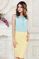 Летняя офисная женская блузка без рукавов голубая