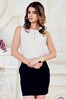 Летняя офисная женская блузка без рукавов бежевая