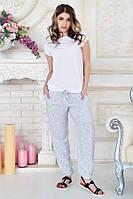 Женские летние свободные брюки с поясом белые