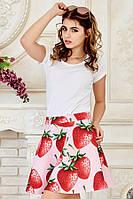Яркая летняя женская мини юбка с модным принтом Клубнички