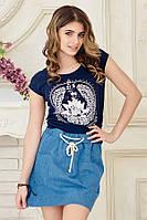 Модная джинсовая мини юбка с карманами