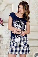 Модная женская мини юбка в клетку с карманами