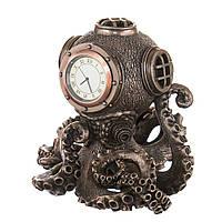 """Статуэтка - часы Veronese стимпанк """"Осьминог"""" 14 см под бронзу"""