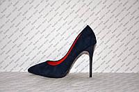 Туфли лодочки на высокой шпильке замшевые синего цвета