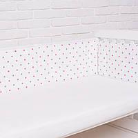 """Бортик  в кроватку для новорожденного """"Розовый звездопад"""" Еlfdreams"""