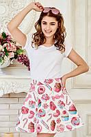 Яркая летняя женская мини юбка с модным принтом Пончики