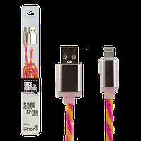 Кабель USB - Lightning  1м Y-P (силикон)  желто-розовый  / Retail