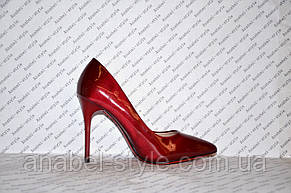 Класичні туфлі на високій шпильці лакові бордового кольору, фото 2