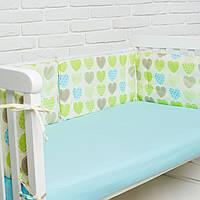 """Бортик  в кроватку для новорожденного """"Сердечки"""" Еlfdreams"""