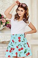 Яркая летняя женская мини юбка с модным принтом Вишенки