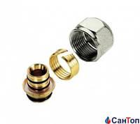 Резьбовое соединение Tiemme 16-2,0 х 3/4 латунное для металлопласт. трубы с никелированой гайкой