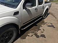 Nissan Navara 2006-2015 гг. Боковые площадки Tayga (2 шт., алюминий)