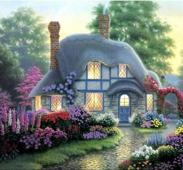 Картина по номерам Маленький домик в цветах КН300
