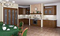Кухня RODA ШЕРВУД: фасады изготовлены из массива ореха с классическим шоколадным бейцуванием