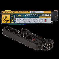 Фильтр-удлинитель сетевой LogicPower LP-X5, 5 розеток, цвет-черный, 1,8 m.
