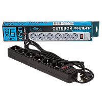 Фильтр-удлинитель сетевой LogicPower LP-X6, 6 розеток, цвет-черный, 3,0 m
