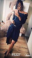 Женский стильный ассиметричный костюм юбка+топ