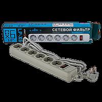 Фильтр-удлинитель сетевой LogicPower LP-X6, 6 розеток, цвет-серый, 3,0 m