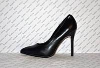 Туфли лодочки на высокой шпильке черные эко кожа