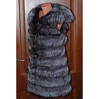 Меховая жилетка из чернобурки удлиненная, фото 1