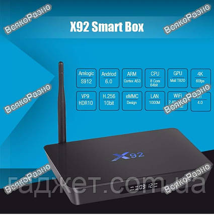 Android TV Box X92 с 3Гб RAM. Смарт приставка Х92.Смарт приставка Х92 Android 6.0 3/16Gb UltraHD 4K, фото 2