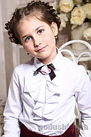Блуза белая для девочки Милана Б-09105 30 ( Р-116, ОГ-60, ОТ-54)