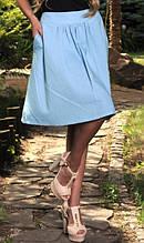 Льняная голубая юбка