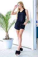 Женский шелковый костюм с шортами и блузой (черный) Love KAN № 0102