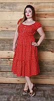 "Женское платье - сарафан мелкий горошек ""Легкий штапель""  48, 50, 52, 54 размер батал"