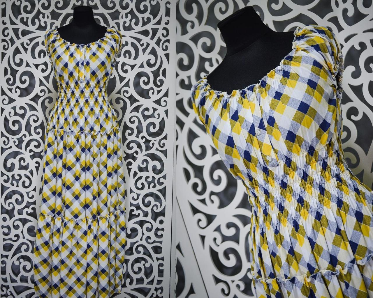 """Модное женское платье в клетку """"штапель"""" 54, 56 размер баталы"""