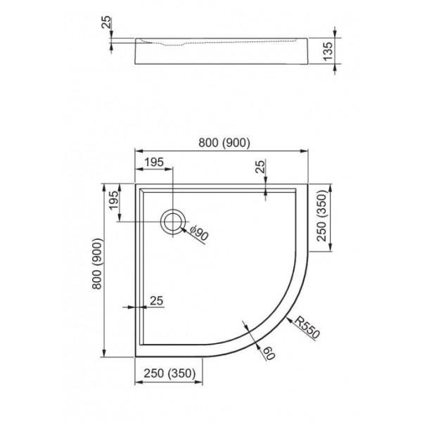 aquaform Душевой поддон Aquaform Plus 550 80x80 см 200-06917