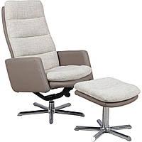 Кресло-реклайнер Sicilia тк.св.-коричневый/PU коричневый