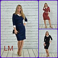 54-60 размеры, Деловое синее осеннее платье Сидни батал на работу больших размеров с белым приталенное