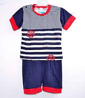 """Гр КС-23 """"1"""" /р.86/ /якорь в полоску/ Комплект для мальчика: футболка с шортами"""