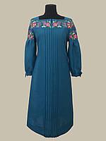 Платье льняное строгого фасона Вербена щедро украшеное вышивкой цвета бирюзы
