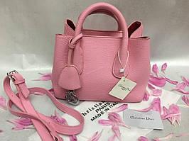 Оригинальная кожаная женская сумка Christian Dior  розовая 788