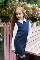 Школьное платье с воротничком и шифоновыми рукавами  кл243