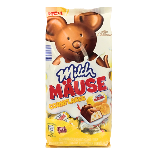 Шоколадные конфеты Chateau Milch Mause с кусочками кукурузных хлопьев, 210гр