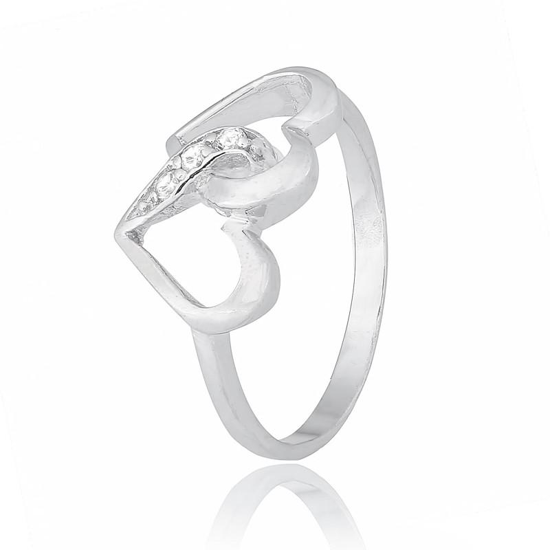 """Серебряное кольцо с сердечками """"628"""""""